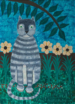 "Andrew MURRAY ""Garden Cat"" - acrylic on board - 41x31.5 cm - Bernardi Auctioneers, Pretoria - 8th February, 2016 - Lot 125"