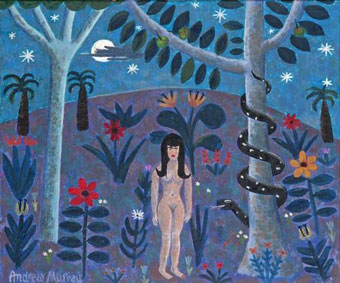 "Andrew MURRAY ""Eve in the Garden of Eden""  oil/board - 40x47 cm - Strauss & Co 26th September 2011  Lot 194"