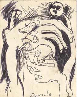 "DUMILE ""Hands of fear"", undated - black ball point on board - ref. K4"