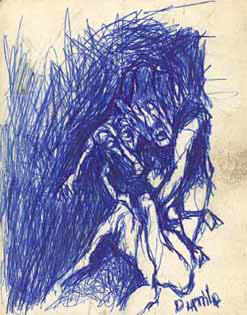 "DUMILE ""Frightened"", undated - blue ball point on board (double-sided)"