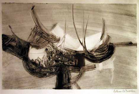 "Arthur GOLDREICH ""Abstract movement"", 1962 - monoprint - 20x27 cm"