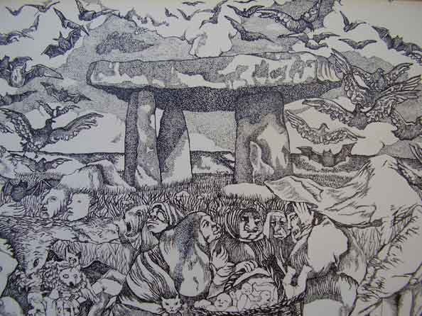 "Tanya NETTLEY-RESEIGH ""The spirits"", 1971 - Indian ink drawing - 20x5x35.5 cm"