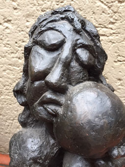 "Ben Macala ""Mother and Child""  bronze 46x26x30 cm - not signed – close-up - Private Coll A.B."