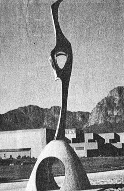 "Michael FLEISCHER ""The rising crane"" bronze 1/1 at entrance of Huguenot Tunnel, Klein Drakenstein (ill. in Transvaler, Johannesburg 3rd January, 1989)"