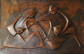 "Michael Fleischer ""Figure study"", copper panel - 59.7x91 cm (RKA auction 5th Feb 2011 Lot 96)"
