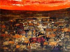 "Gordon Vorster ""Red Sunset"" abt. 1968 – oil/board – 90x120 cm"
