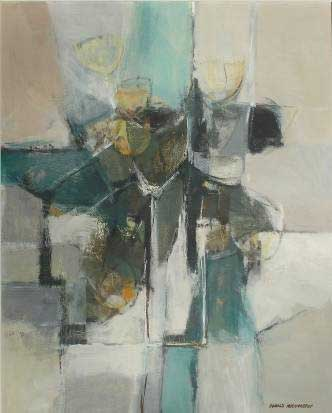 "Ronald MYLCHREEST ""Abstract stillife"" - oil/board 75x60 cm - Sothebys JHB 31.7.06 Lot266"
