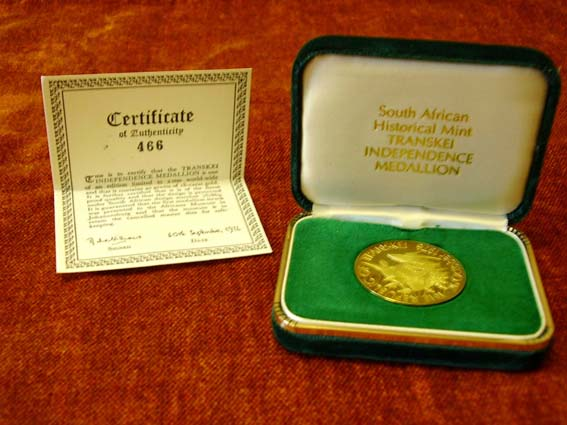 Transkei Independence Gold Medallion 1976