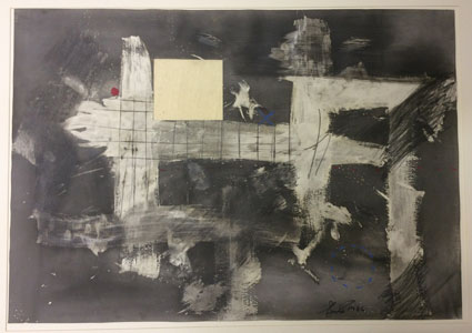 "Lucas SEAGE ""No title"", 1986 - mixed media drawing with collage on Fabriano paper - 96.8x126.5 cm (img. JAG)"