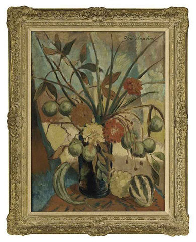 "Rene SHAPSHAK ""Still life - assorted flowers with melon and grapes 61.6x45.7 cm Lot 690"